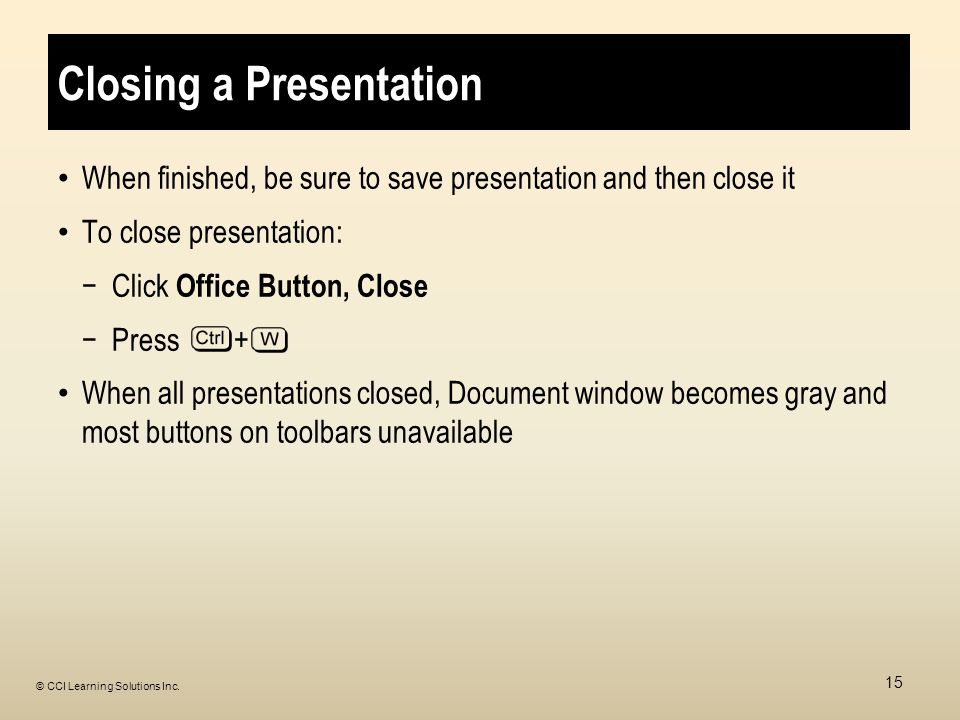 Closing a Presentation