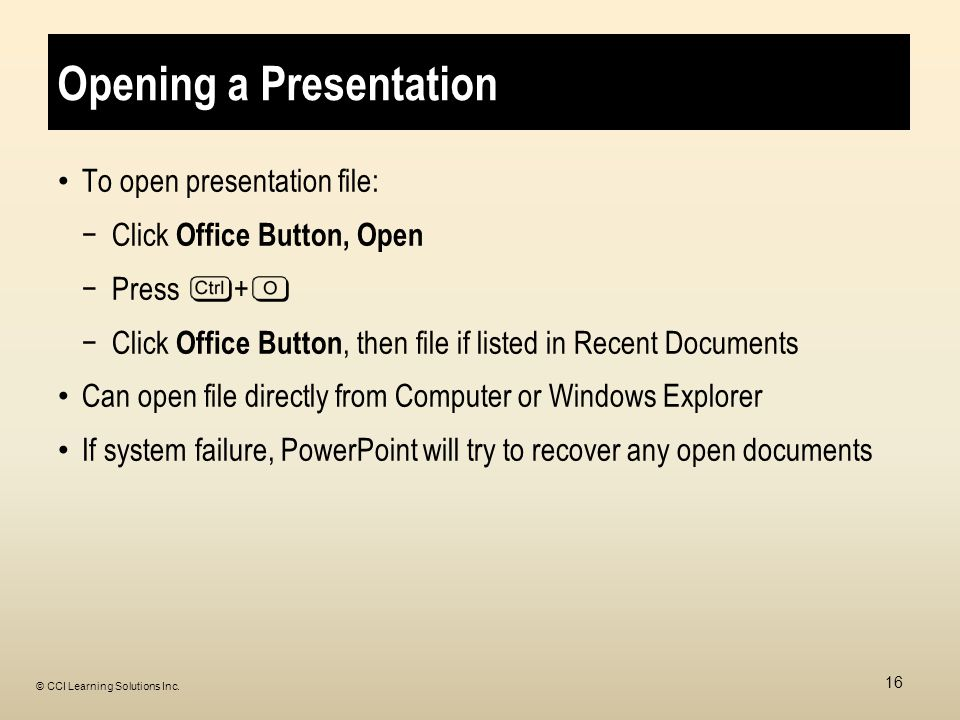 Opening a Presentation