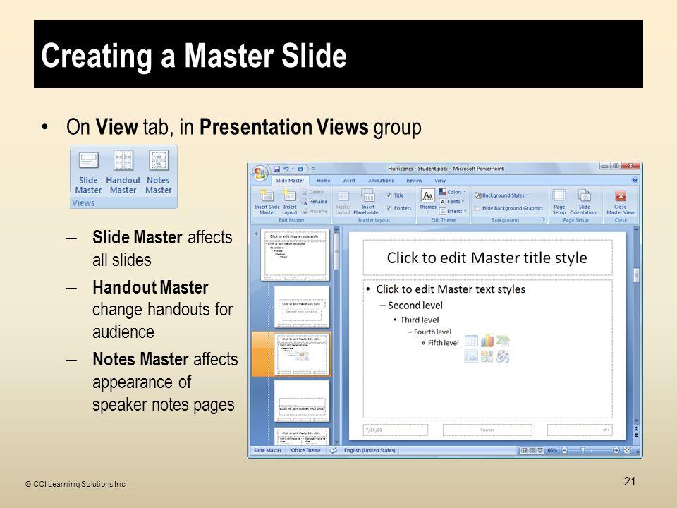 Creating a Master Slide