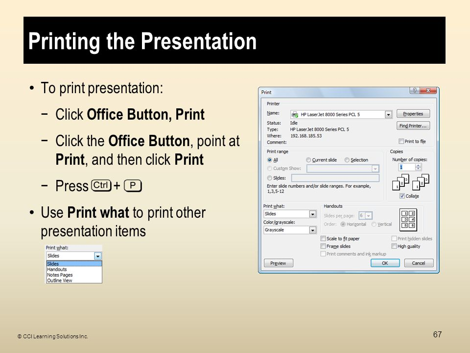 Printing the Presentation