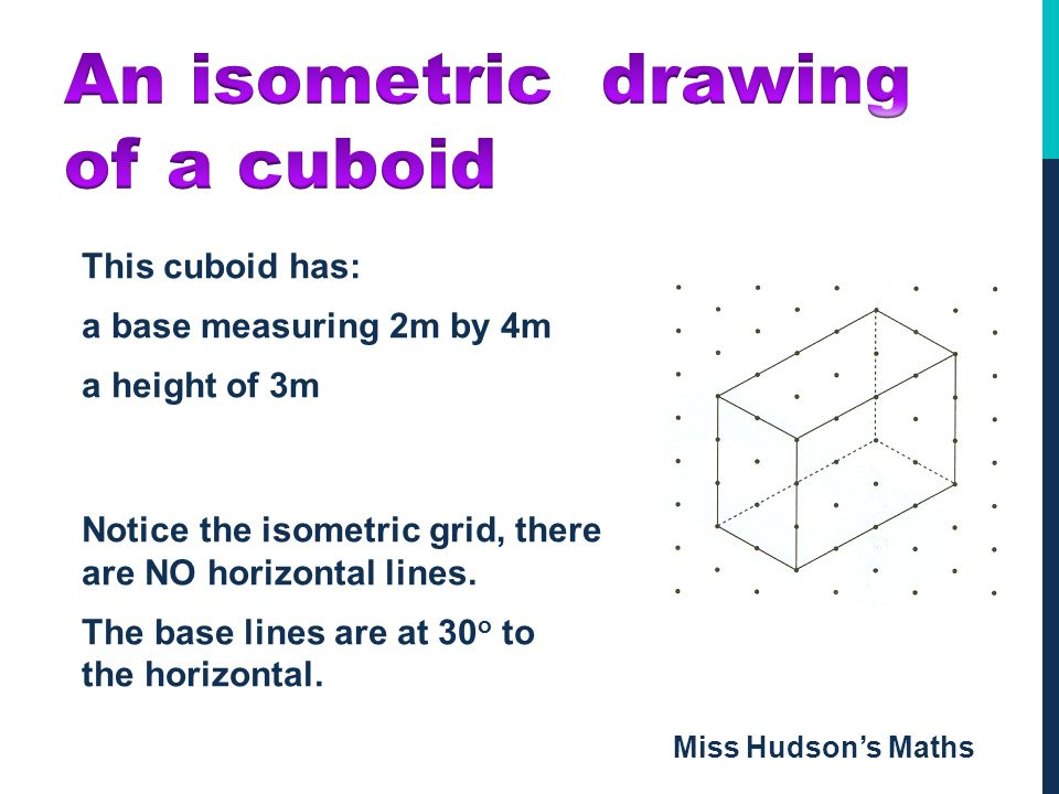 An isometric drawing of a cuboid