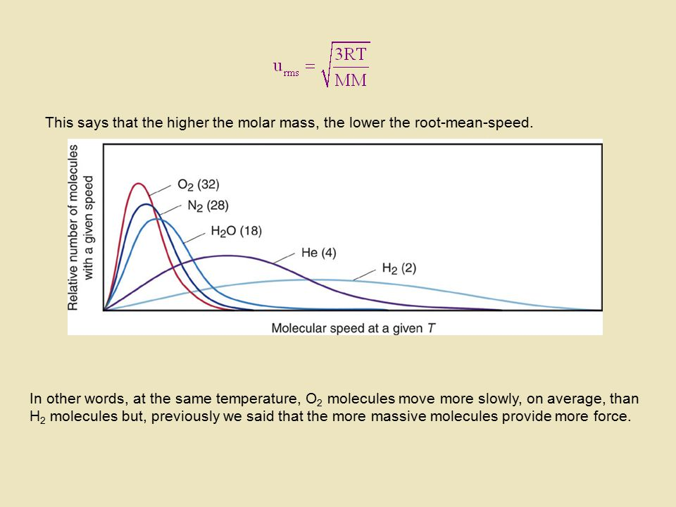 This says that the higher the molar mass, the lower the root-mean-speed.