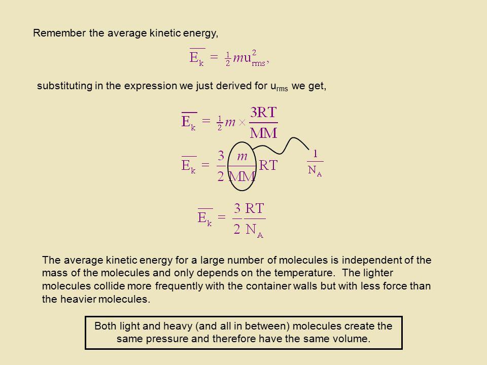 Remember the average kinetic energy,