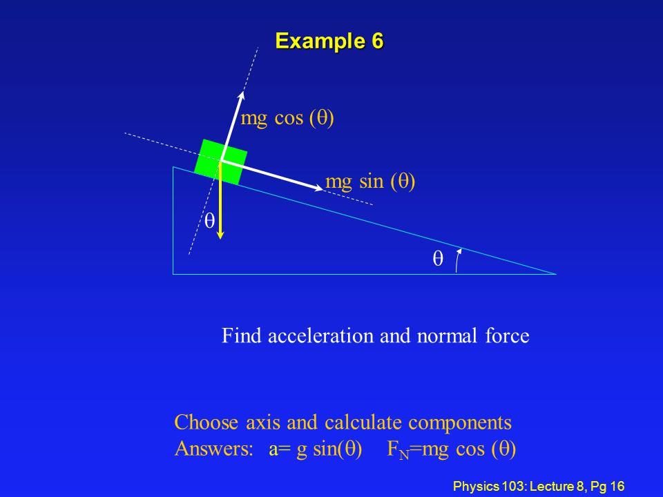 Find acceleration and normal force