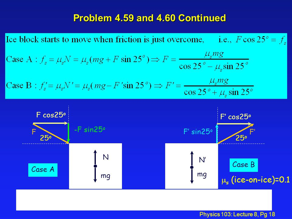 Problem 4.59 and 4.60 Continued ms (ice-on-ice)=0.1 F' 25o F cos25o