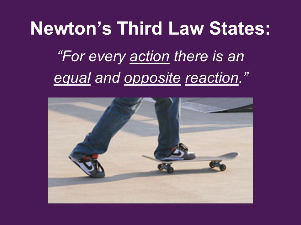 Newton's Third Law States: