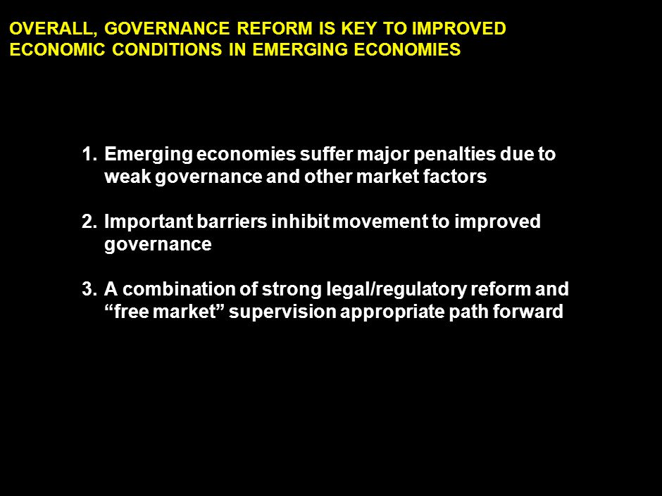 1. Quality of governance important factor in investment decisions