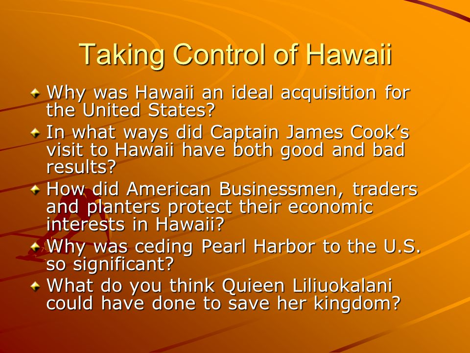 Taking Control of Hawaii