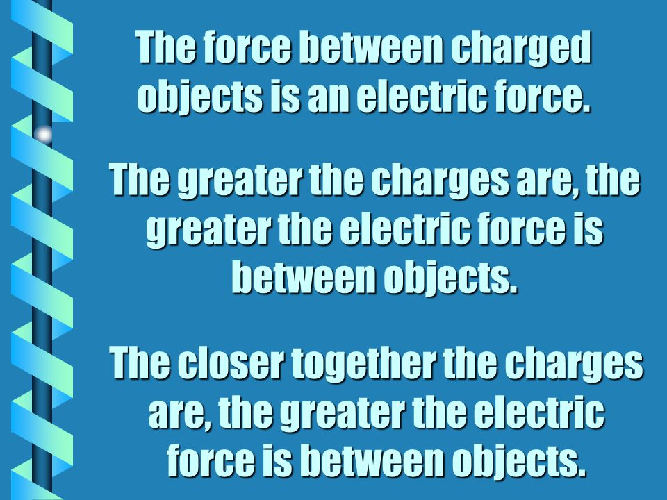 The force between charged objects is an electric force.