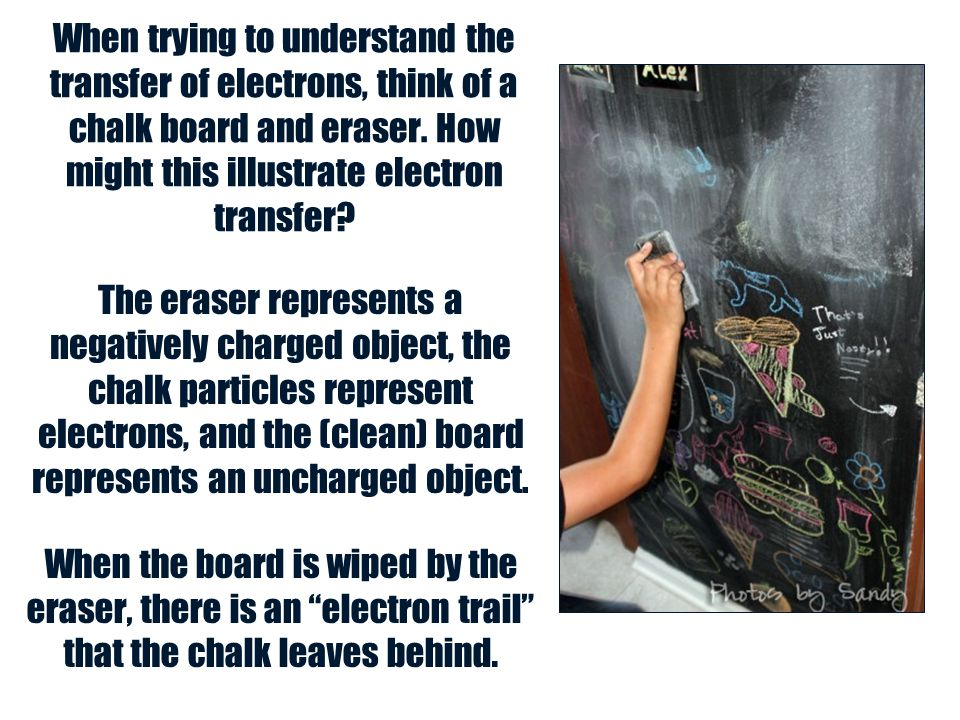 When trying to understand the transfer of electrons, think of a chalk board and eraser. How might this illustrate electron transfer