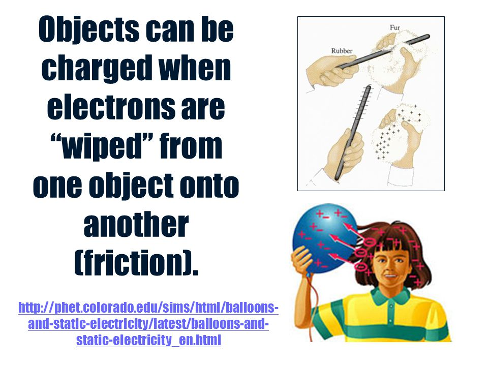 Objects can be charged when electrons are wiped from one object onto another (friction).