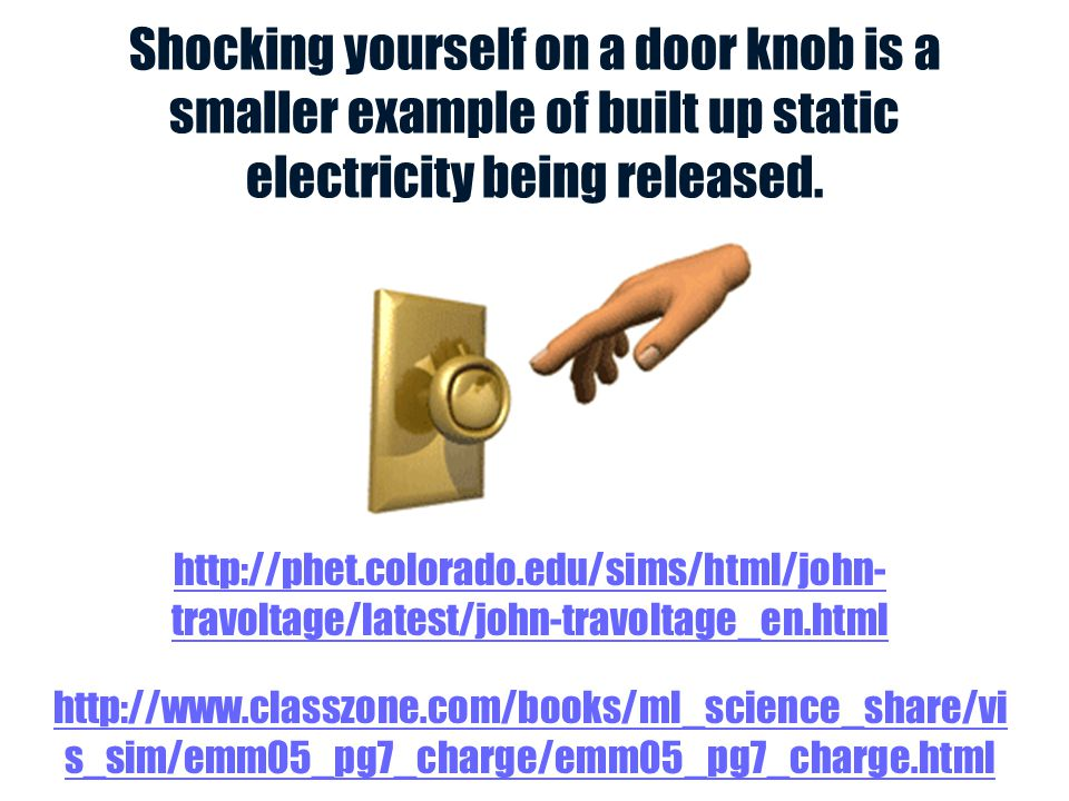 Shocking yourself on a door knob is a smaller example of built up static electricity being released.