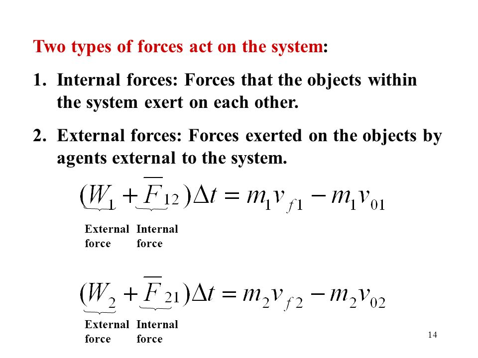 Two types of forces act on the system: