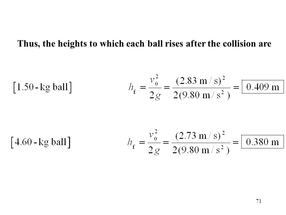 Thus, the heights to which each ball rises after the collision are