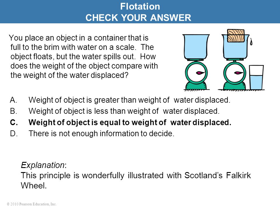 Flotation CHECK YOUR ANSWER