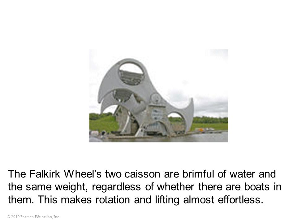 The Falkirk Wheel's two caisson are brimful of water and the same weight, regardless of whether there are boats in them.
