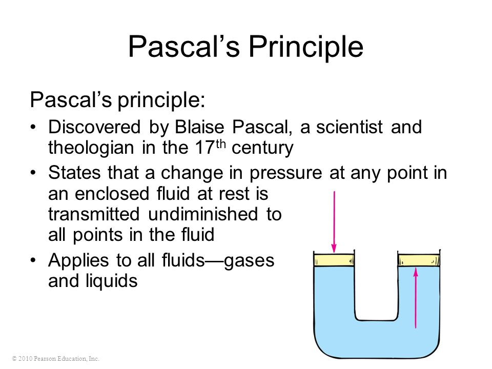 Pascal's Principle Pascal's principle: