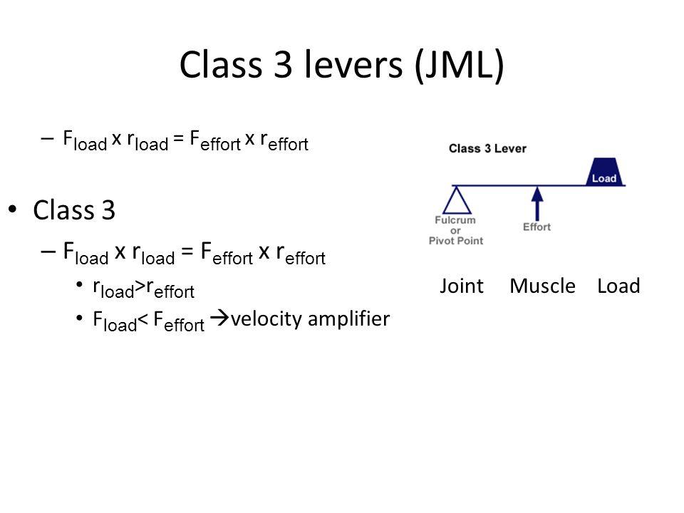 Class 3 levers (JML) Class 3 Fload x rload = Feffort x reffort