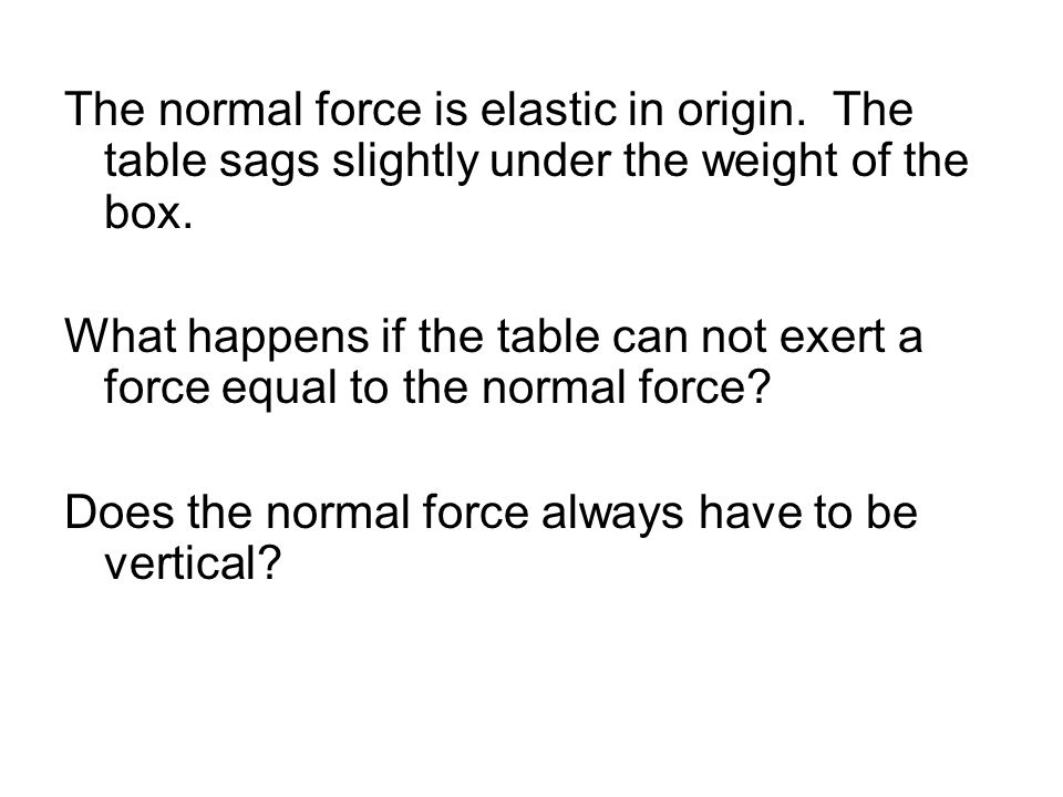 The normal force is elastic in origin