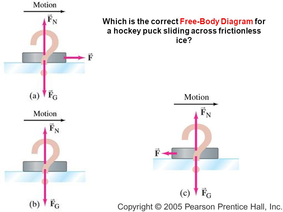 Which is the correct Free-Body Diagram for a hockey puck sliding across frictionless ice
