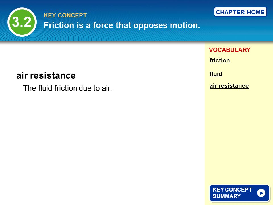 3.2 air resistance Friction is a force that opposes motion.