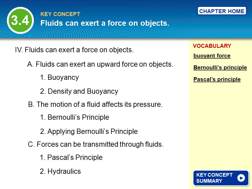 Fluids can exert a force on objects.
