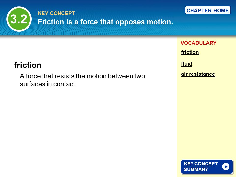 3.2 friction Friction is a force that opposes motion.