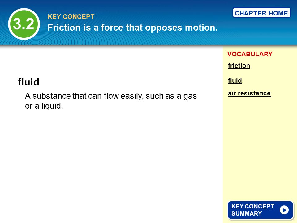 3.2 fluid Friction is a force that opposes motion.