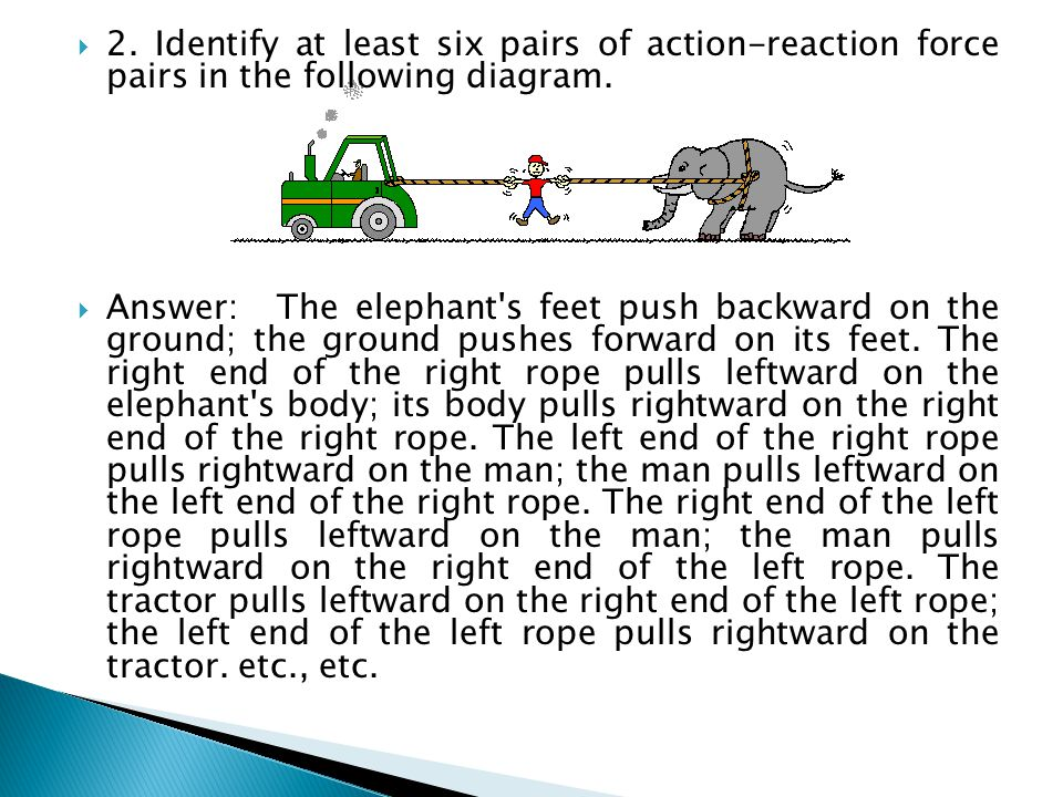 2. Identify at least six pairs of action-reaction force pairs in the following diagram.