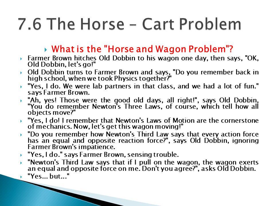 7.6 The Horse – Cart Problem