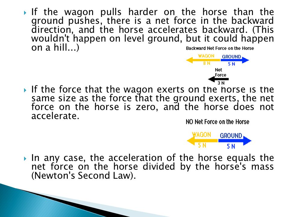 If the wagon pulls harder on the horse than the ground pushes, there is a net force in the backward direction, and the horse accelerates backward. (This wouldn t happen on level ground, but it could happen on a hill...)