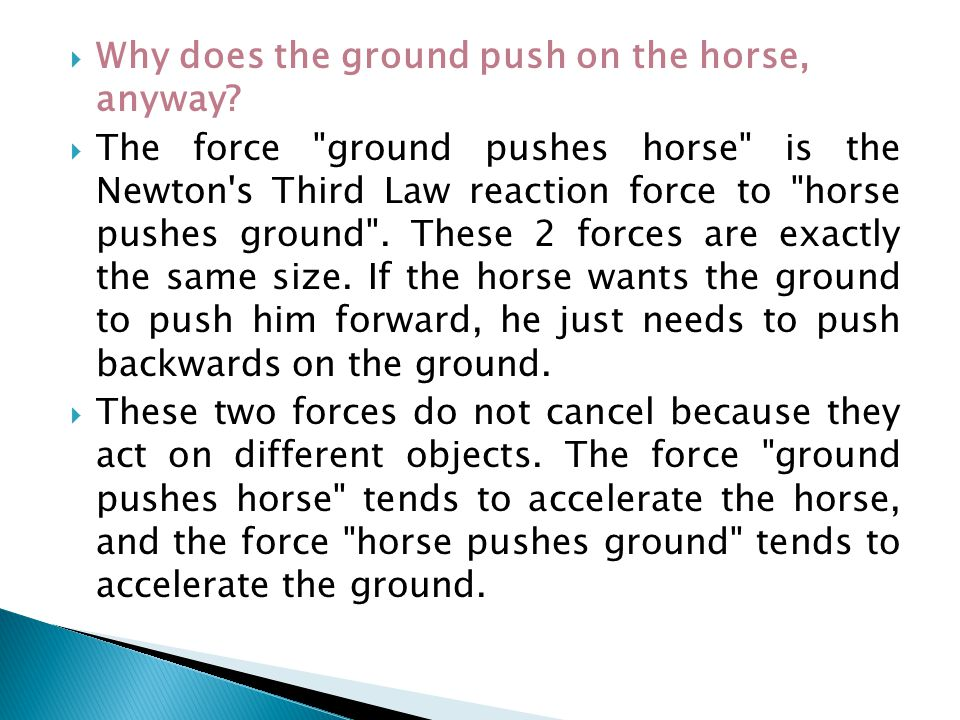 Why does the ground push on the horse, anyway