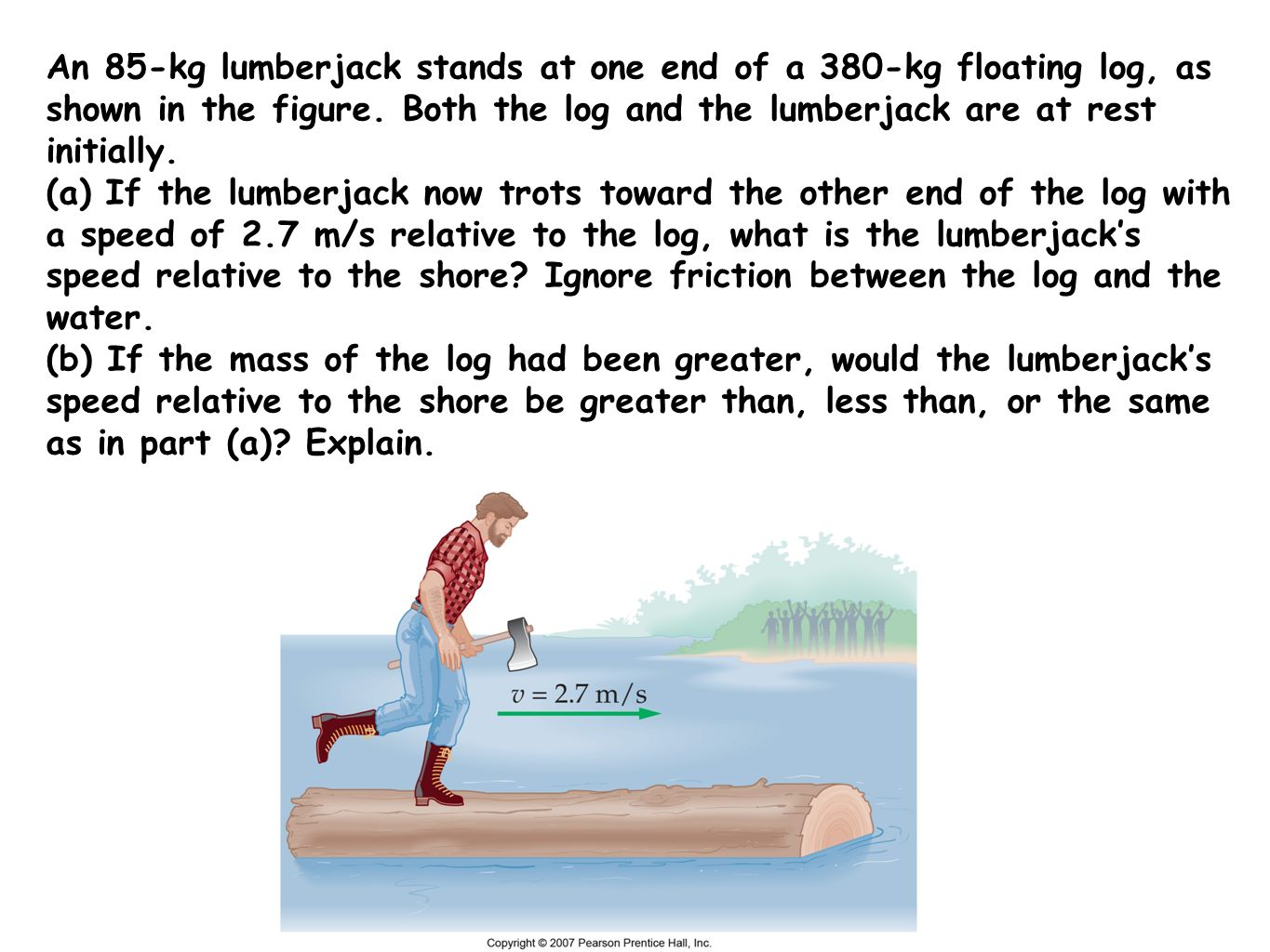 An 85-kg lumberjack stands at one end of a 380-kg floating log, as shown in the figure. Both the log and the lumberjack are at rest initially.
