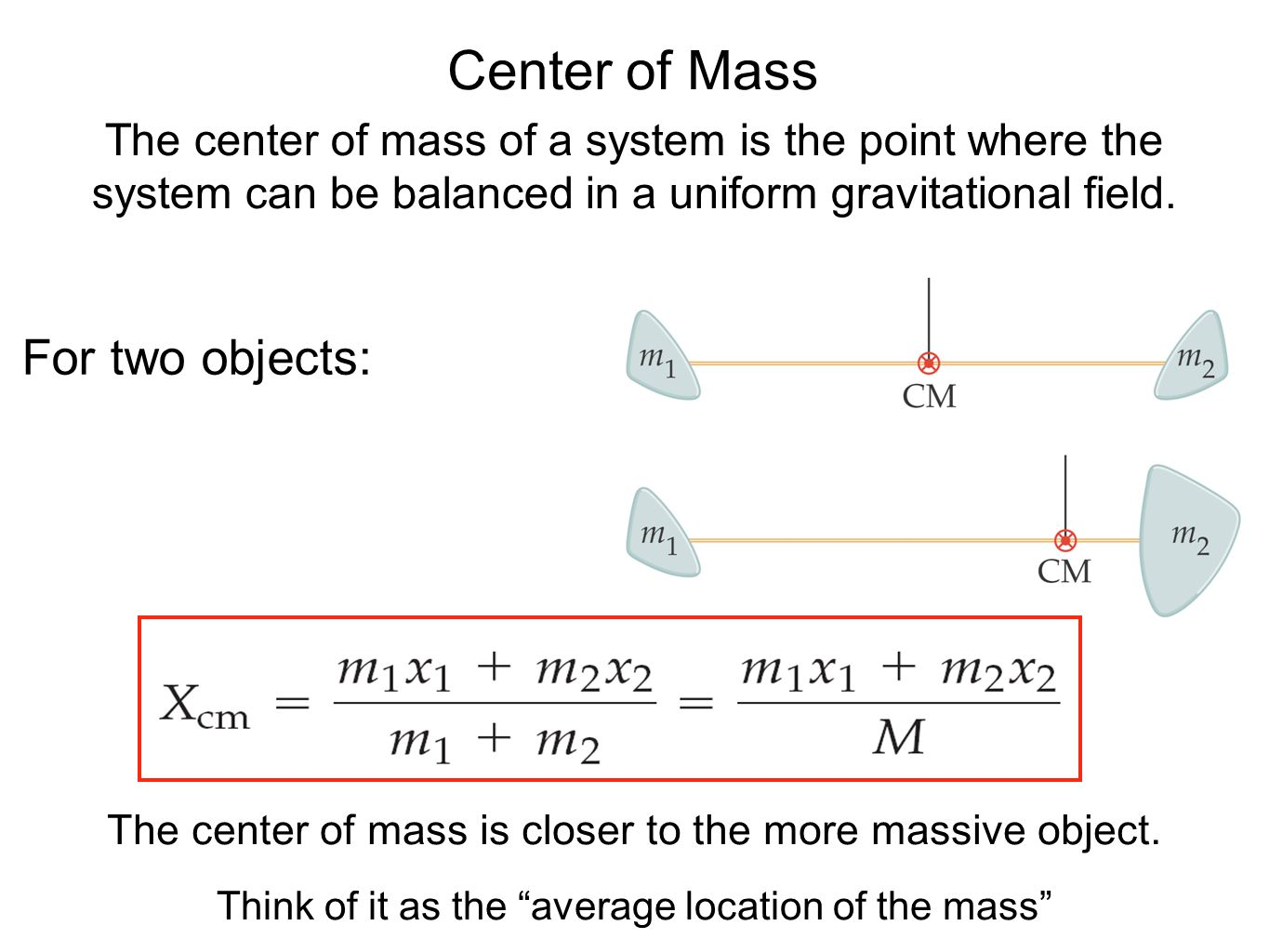 Center of Mass For two objects: