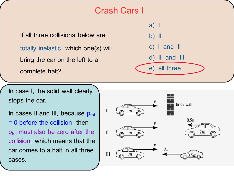 Crash Cars I a) I. b) II. c) I and II. d) II and III. e) all three.