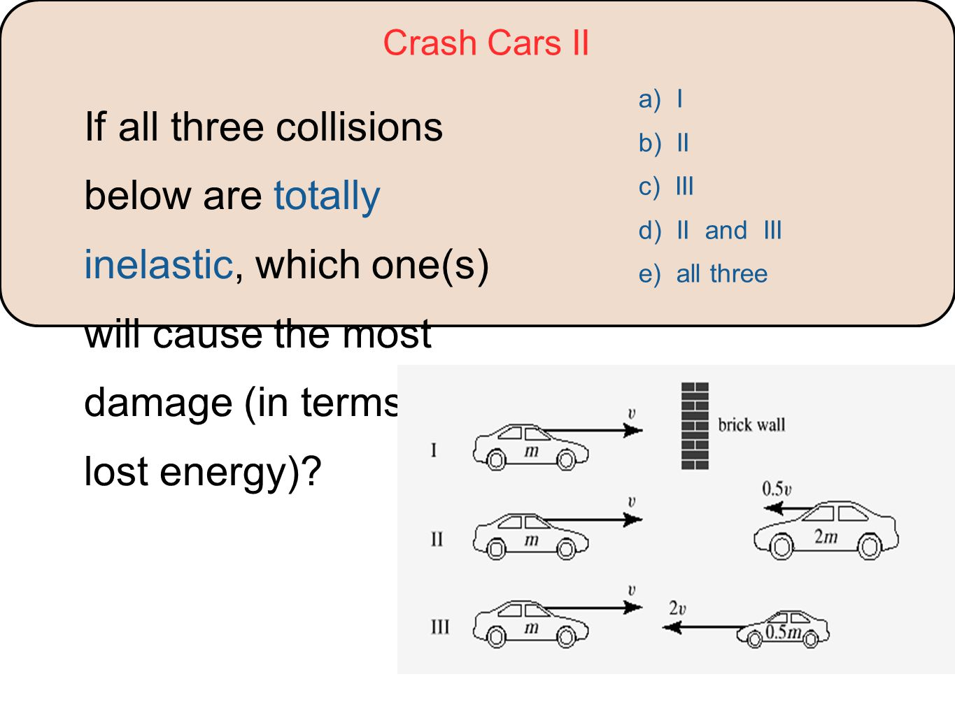 Crash Cars II If all three collisions below are totally inelastic, which one(s) will cause the most damage (in terms of lost energy)