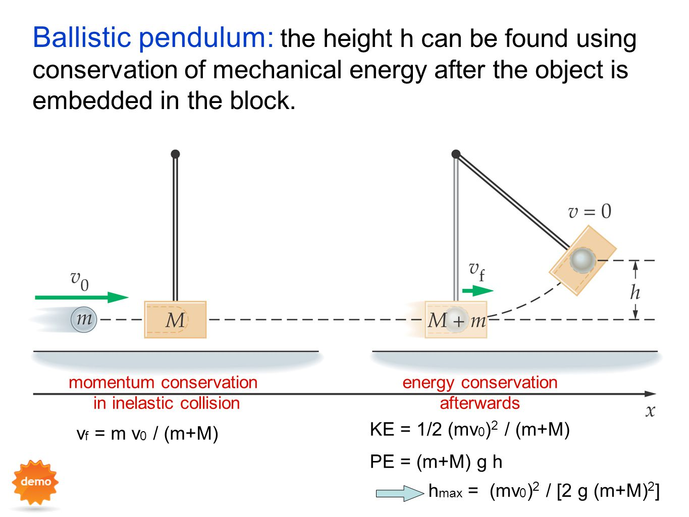 Ballistic pendulum: the height h can be found using conservation of mechanical energy after the object is embedded in the block.