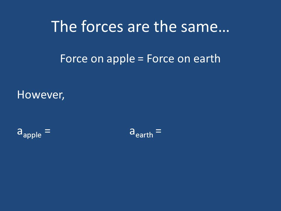 The forces are the same…