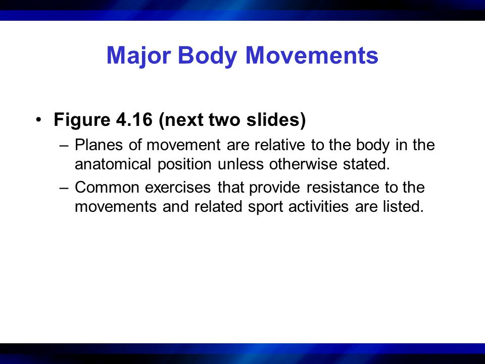 Major Body Movements Figure 4.16 (next two slides)