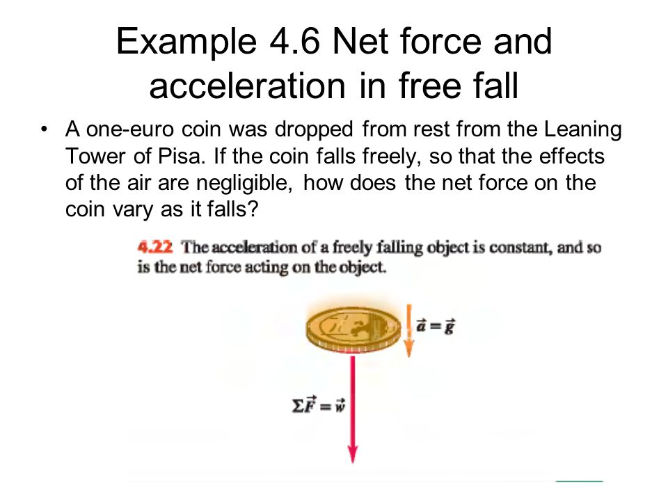 Example 4.6 Net force and acceleration in free fall
