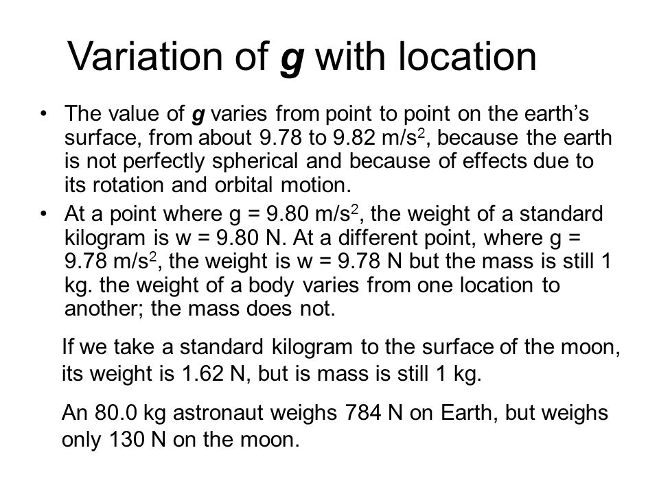 Variation of g with location