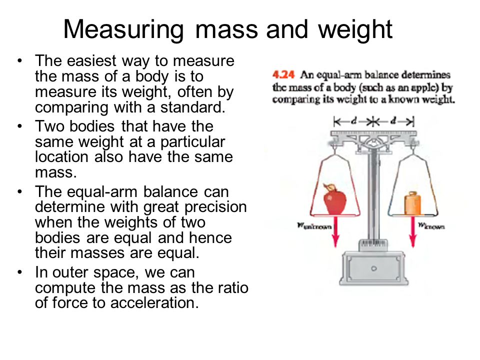 Measuring mass and weight