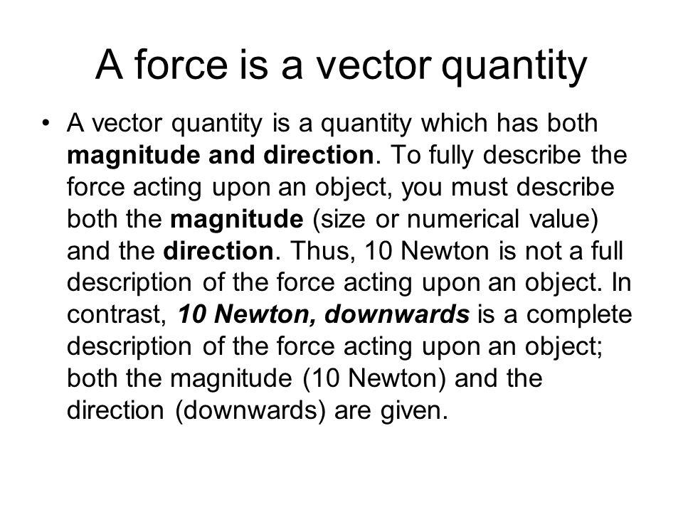 A force is a vector quantity
