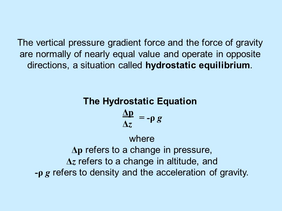The vertical pressure gradient force and the force of gravity