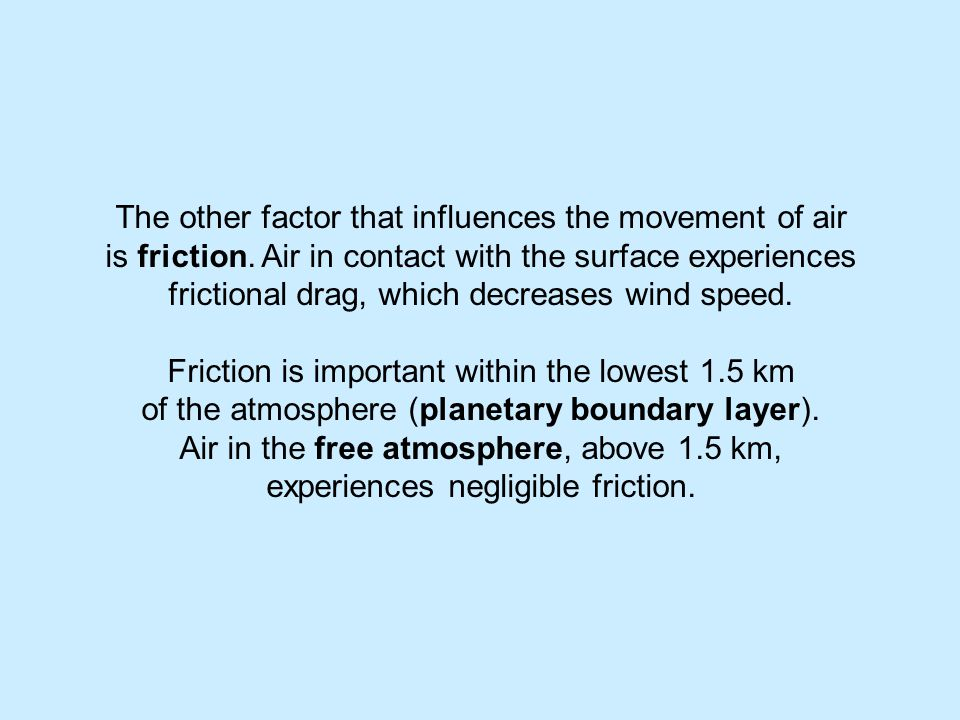 The other factor that influences the movement of air