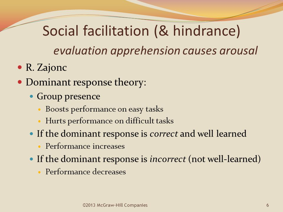 Social facilitation (& hindrance)