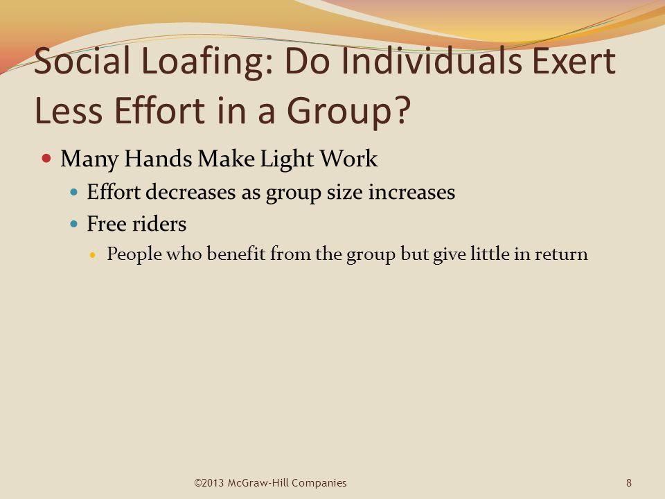 Social Loafing: Do Individuals Exert Less Effort in a Group