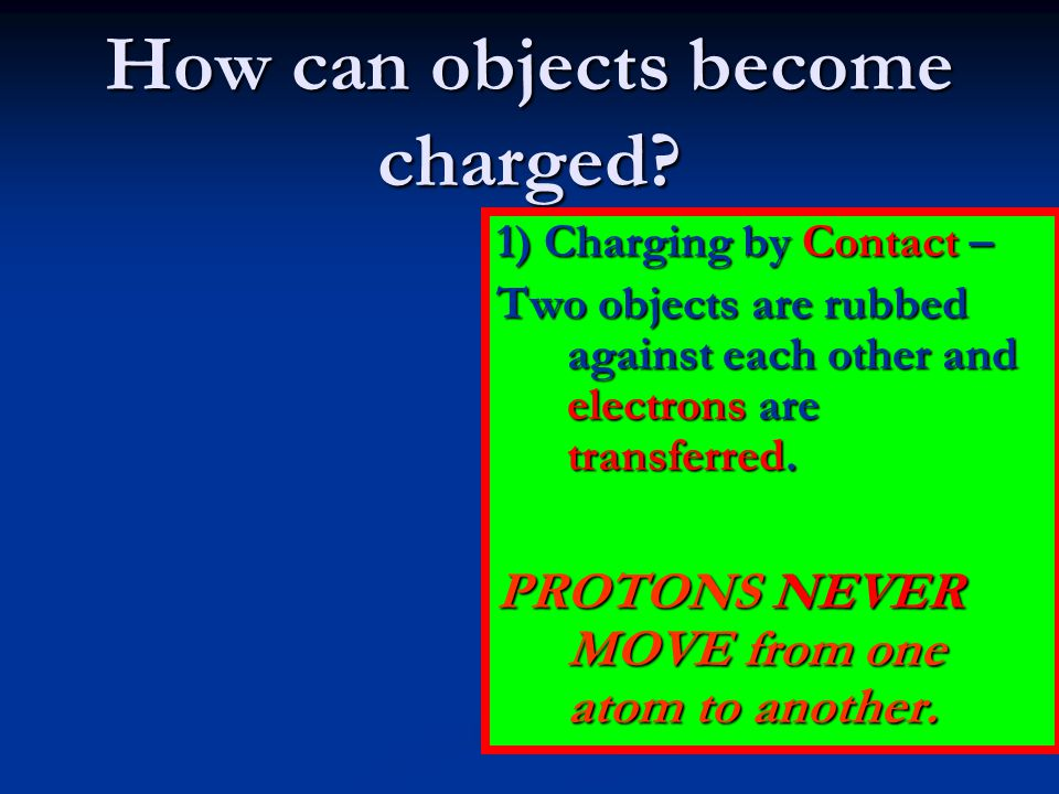 How can objects become charged