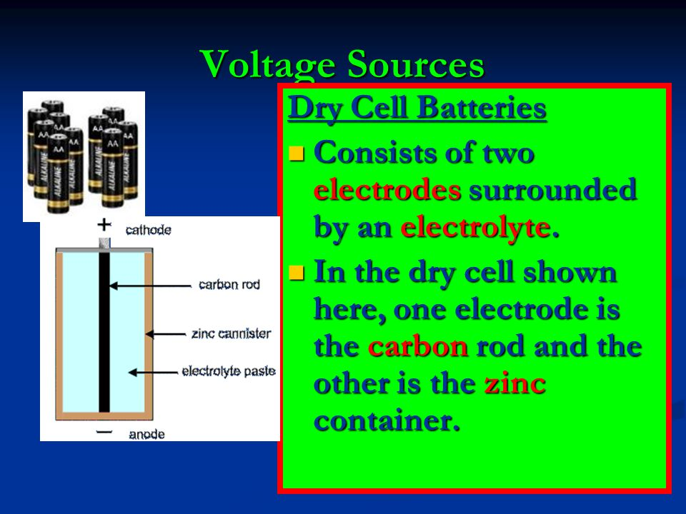 Voltage Sources Dry Cell Batteries