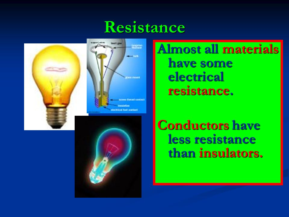 Resistance Almost all materials have some electrical resistance.